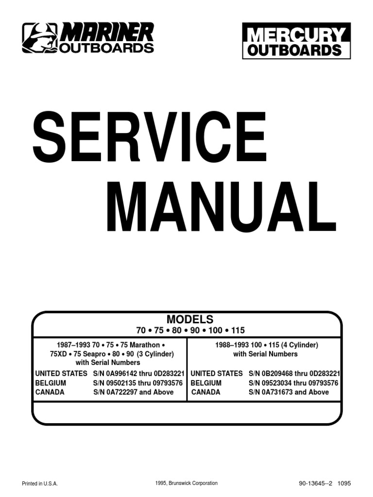 Outboard Manual 70 75 80 90 100 115 Internal Combustion Engine Ignition System