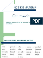Balance de Materiacon Reaccion 2014
