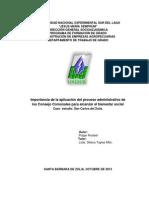 Ctg-005-2013 Importancia de La Aplicacion Del Proceso Administrativo de Los Consejos Comunales Para Alcanzar El Bienestar Social, Caso Estudio San Carlos Del Zulia