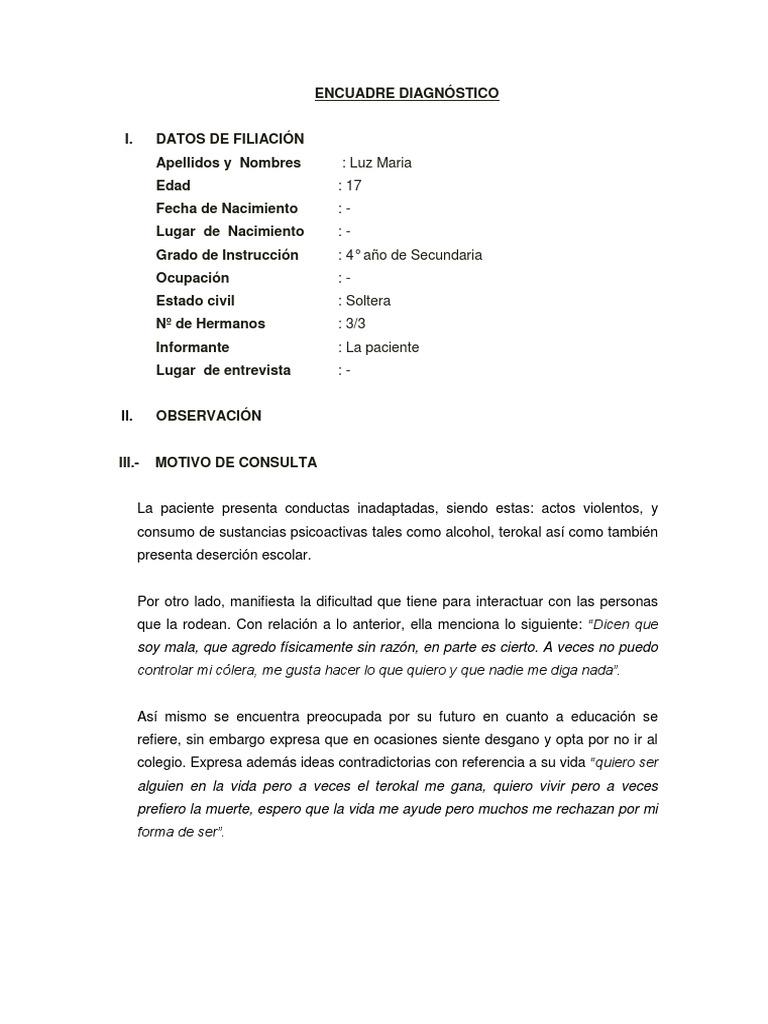 ENCUADRE DIAGNÓSTICO CASO LUZ MARIA