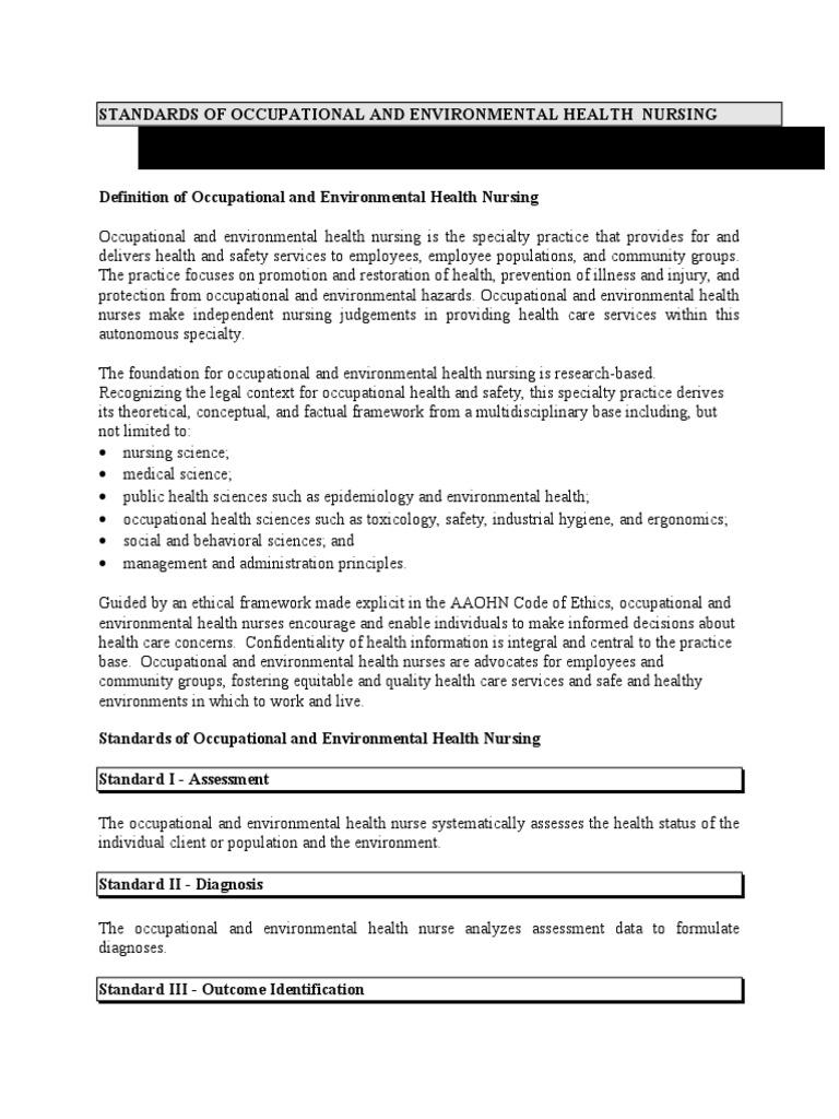 aaohn standards   environmental health   nursing