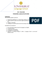 SLS EFL Teacher Personal Qualifications