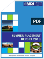 MDI Summer Placement Report Class of 2015