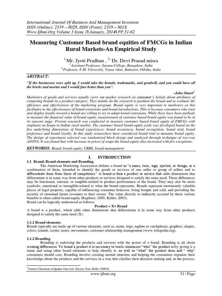 International Journal Of Business And Management Invention Ijbmi Brand Consumer Behaviour