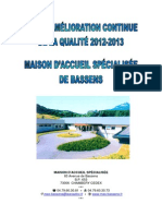 Plan Damelioration Continu de La Qualite Mas 2011 2015