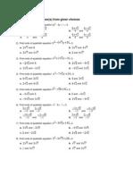 Grade 9 Quadratic Equations Worksheet
