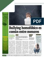 Bullying homofóbico es común entre menores