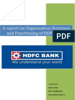 HDFC Bank - Organisation Structure & Functional Departments