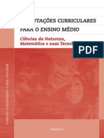 orientações currículares para o ensino médio, v2, ciências da natureza, matemática e suas tecnologias