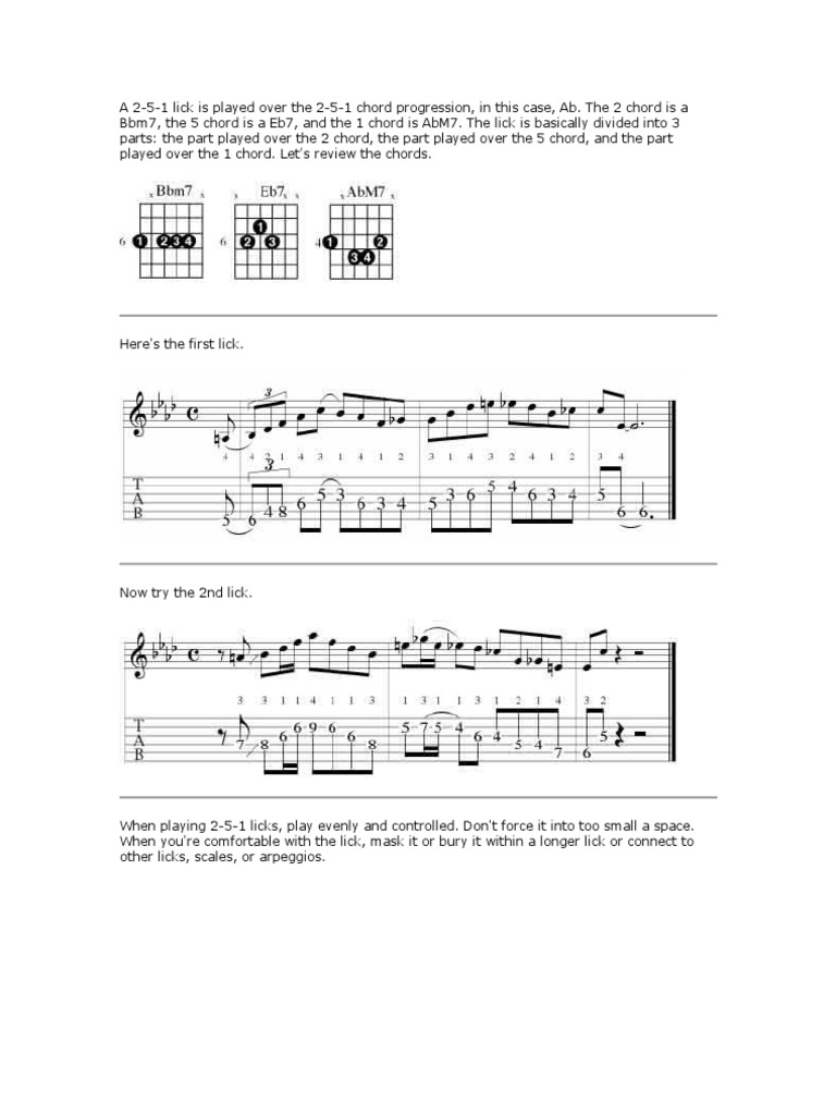 Jazz guitar lesson 2 5 1 licks in ab hexwebz Gallery