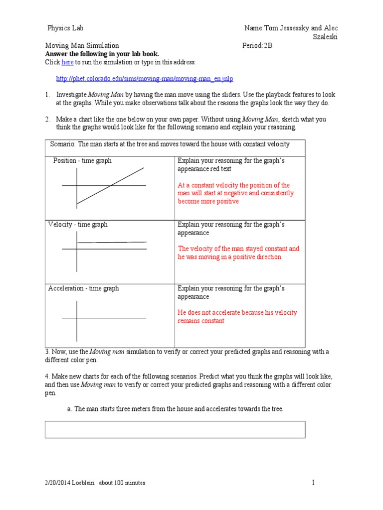 Moving Man Phet Lab Activity[1] | Acceleration | Velocity