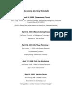 Upcoming Meeting Schedule