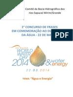 Edital do 2º Concurso de Frases em Comemoração ao Dia Mundial da Água – 22 de março