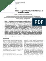 Al-Harthi and Al-Yahyai-Effect of NPK Fertilizer on Growth and Yield of Banana in Northern Oman