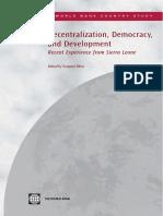 Decentralization, Democracy and Development