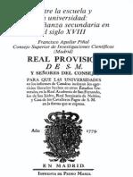 Aguilar Piñal - Enseñanza secundaria XVIII