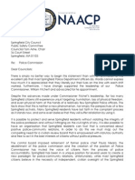Letter from Rev. Talbert W. Swan, II, President Greater Springfield NAACP, to the City Council Public Safety Committee.