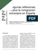 Algunas Reflexiones Sobre Las Migraciones en Espana