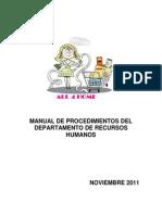 Manual de Procedimientos Del Departamento de Recursos Humanos