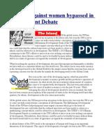 Violence Against Women Bypassed in Development Debate