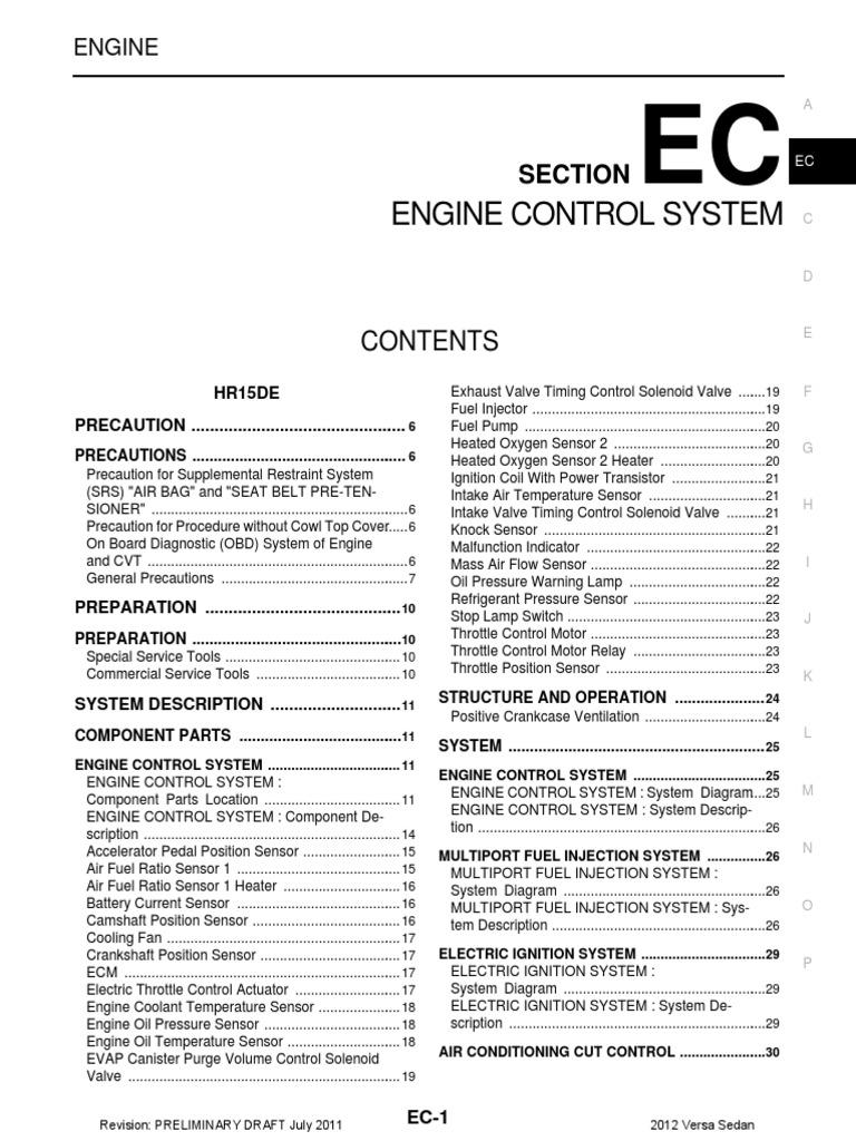Nissan Sentra Service Manual: Ecu diagnosis information