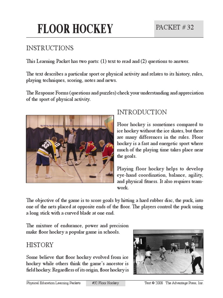 floor hockey packet 32 | Ice Hockey | Team Sports