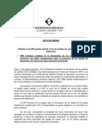 Nota de Prensa Sbs