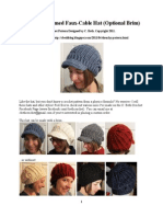 Slouchy Faux Cable Hat Optional Brim Tutorial