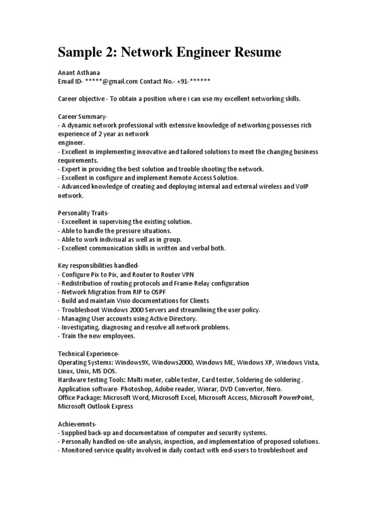 Charming Sample Network Engineer Resume.pdf Intended For Networking Skills Resume