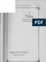CA Titles Practice Procedure Senator N W Thompson