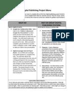digital publishing project menu