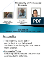 The Impact of Personality on Psychological Contracts