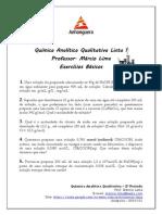 Lista 1 de Exercícios Básicos - Química Analítica Qualitativa - ANHANGUERA 3º Período