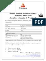 Lista 2 Eletrólitos e Reação de Precipitação  - Química Analítica Qualitativa - ANHANGUERA 3º Período