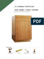 Frameless Base Cabinet 1 Door 1 Drawer