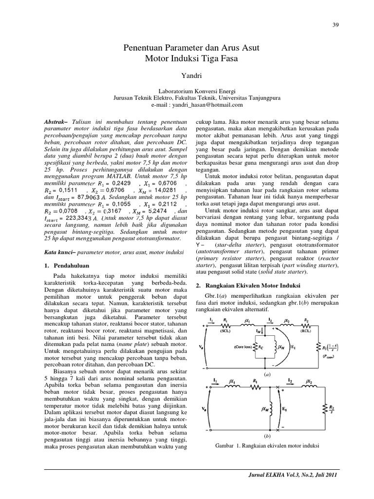 Penentuan Parameter Dan Arus Asut Motor Induksi Tiga Fasa