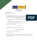 Primer examen parcial de  álgebra y funciones