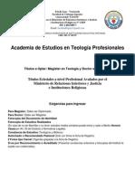 Pensum Curricular Estudios Teologicos- Mag-doc