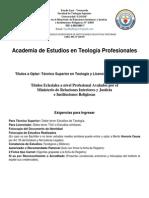 Pensum Curricular Estudios Teologicos- Tst-lic