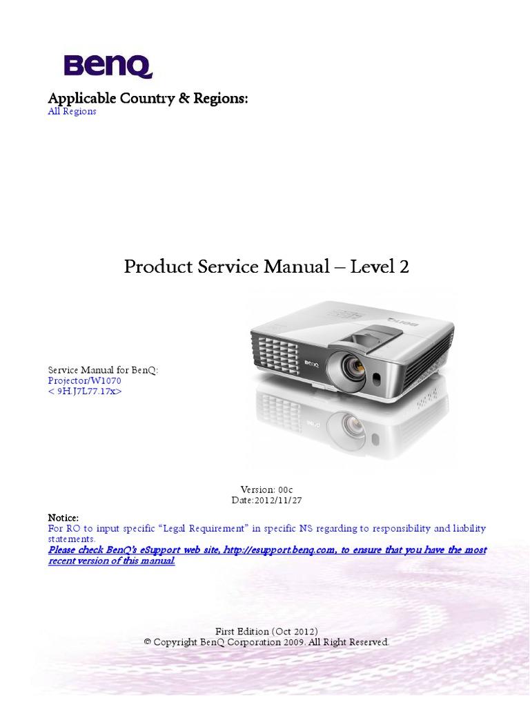 benq w 1070 service manual hdmi power supply