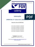 Ementas Cademp - Educa‡Æo - 3ø ciclo de 2009 - 29 de abril de 2009