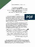 letter of al-bīrūnī Ḣabash al-Ḣāsib's analemma for the qibla
