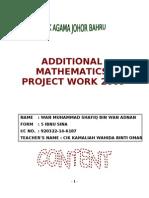 Additional Mathematics Project Work 2009