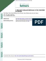 Ocean Acidification Disrupts Induced Defences in the Intertidall Gastropod Littorina Littorea