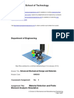 Advanced Mechanical Design and Materials-Material Selection and Finite Element Analysis Simulation