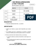 Aviso Toma Altas y Bajas Ene-jun 2014