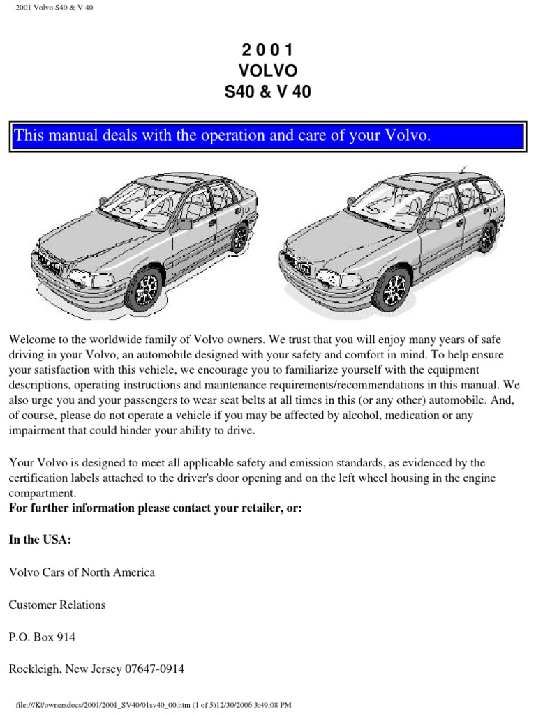 volvo s40 v40 owners manual 2001 airbag seat belt rh scribd com Product Auto Repair Manuals Product Radar Detector Manuals