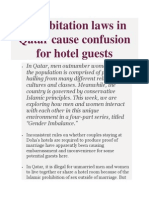 Cohabitation Laws in Qatar Cause Confusion for Hotel Guests