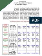 Phonics Desk Worksheet Index