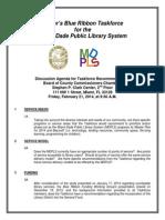 Mayor's Blue Ribbon Taskforce  Discussion Agenda for Taskforce Recommendations (2/21/2014)